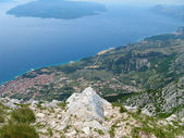 Croatia, biokovo, landscape, mountain, dalmatia, europe, sea, tourism, adriatic, tourist, blue, coast, mediterranean, water, nature, coastline, horizon, beach, destination, waves, shore, scenery, sun, — Stock Photo