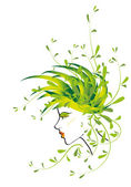 Girl with flowers and leaves on the head — Foto de Stock
