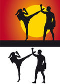 Kickboxer silhouette against a colored background — Stock Photo