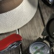 Stock Photo: Panama hat and equipments