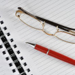 Red pen and notepad — Stock Photo
