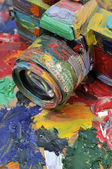 Hand painted old camera — Stock Photo