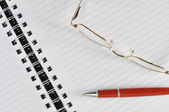 Notebook and red pen — Stock Photo