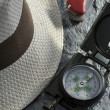 Panama hat and equipments — Stock Photo