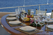 Dinner table on the boat — Stock Photo