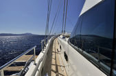 Deck of sailboat — Stock Photo