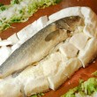 Seabass with salt — Stock Photo