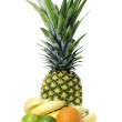 Set of fruit: ananas, bananas, limes and orange isolated on whit — Stock Photo