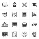 Scuola ed educazione 1 set di icone — Vettoriale Stock