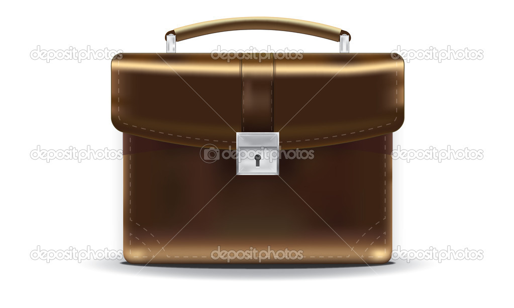 Vector realistic leather briefcase brown. On a white background — Stock Vector #11482391