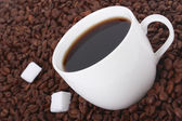 Caffè e zucchero su fagioli — Foto Stock