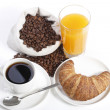 French breakfast from coffee cup with orange juice and croissant — Stock Photo