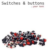 Switches, buttons, fuses, electronic components — Stock Photo
