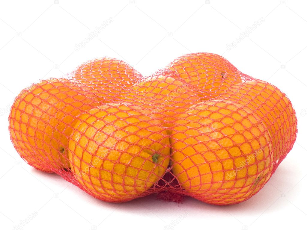 Seven oranges in a red net isolated on white background — Stock Photo #11509701