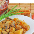 Stock Photo: Potato with meat and mushrooms