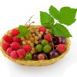 Basket with a raspberry, a cherry and a gooseberry, - Stock Photo