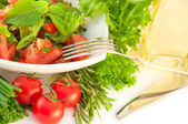 Tomatoes, an onion, pepper and salad — Stock Photo