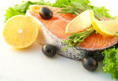 Salmon with a lemon — ストック写真
