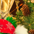 Royalty-Free Stock Photo: Christmas card. New Year's mask against fur-tree branches with cones