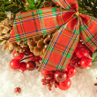 Christmas red tape and branch of berries and fur-tree - 