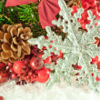 Christmas branch of berries with a silver decorative snowflake against snow — Stock Photo