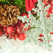 Christmas branch of berries with a silver decorative snowflake against snow - Stock Photo
