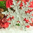 Stock Photo: Christmas branch of berries with silver decorative snowflake against snow