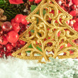 Christmas branch of berries with a gold fur-tree against snow — Stock Photo #11459612