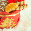 Royalty-Free Stock Photo: Christmas bag with gifts, cookies and fruit candy, a gift