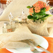 Stock Photo: Table layout by table silver and natural flowers