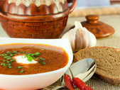 Borsch, soup from a beet and cabbage with tomato sauce. Ethnic cuisine — Stock Photo