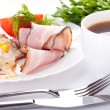 Fried eggs with bacon and tomatoes, a peas and corn, a nourishing breakfast — Stock Photo