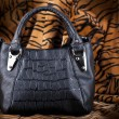 Bag black, leather against a skin of a tiger — Stock Photo