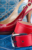 Red belt and shoes, a jeans bag and a skirt — Stock Photo