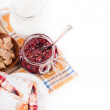 House jam and croissant with cherry on rasping napkin — Stock Photo #11561299