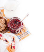 House jam and croissant with a cherry on a rasping napkin — Stock Photo