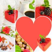 Cake in de vorm van hart met een blackberry, een framboos en munt, een kopje koffie — Stockfoto