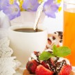 Strawberry with a mint and chocolate, cup of coffee, summer flowers - Stock Photo