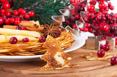 Pancakes with christmas berry — Stock Photo