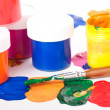 Stock Photo: Varicoloured paints and brushes