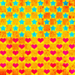Colorful background with stars and hearts - Stock Photo