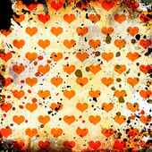 Grunge background with hearts and stains — Foto de Stock