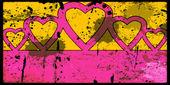 Fondo Grunge con cinco corazones — Foto de Stock