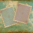 Two vintage stamps on old photo of sky — Stock Photo