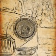 Stock Photo: Vintage sketch of retro car headlights