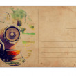 Vintage ansichtkaart met retro auto op witte achtergrond — Stockfoto