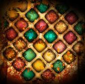 Carrés colorés grunge avec taches — Photo