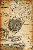 Vintage sketch of retro car headlights — Stock Photo