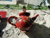 Decorative French red ceramic teapot, in Paris — Stock Photo