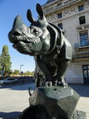 Statue of a Rhyno in front of Musee d'Orsay, Paris — Stock Photo